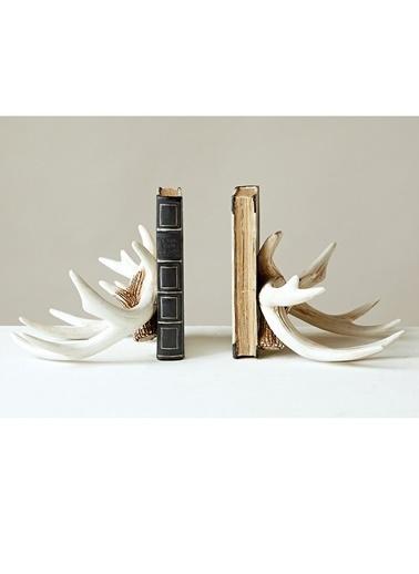 Warm Design Geyik Boynuzlu Kitap Düzenleyicisi Beyaz